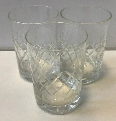 Set Of 3 Whisky Tall Crystal Cut Glass Tumblers Glasses