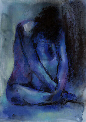 Nude Female Art- Original Painting- Watercolor And Pastel- 9 X 12 Inches Signed