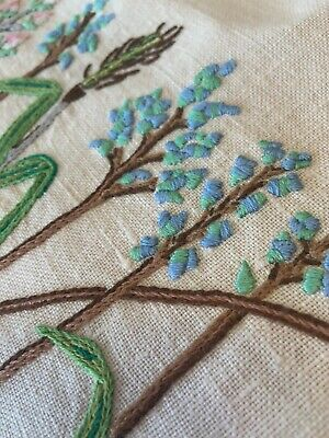 Vintage Embroidered Tablecloth Wild Flowers Crochet Lace Square Card Table Cover