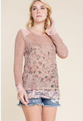 NWT S M L XL Vocal Boho Long Sleeve Floral Mid Length Cardigan Lace Detail