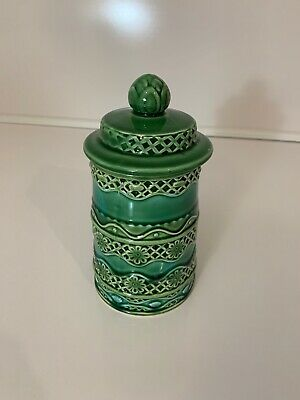 Beauty Ware Mid Century Modern Ceramic Kitchen Jar Blue Green Aqua Rare Color