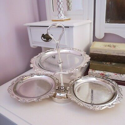 Silver plated folding cake stand with embossed pattern high/kitchen tea wedding