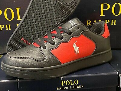 Polo Ralph Lauren Jessup Leather GS SNEAKERS RFS10857 BLACK/RED KIG KIDS