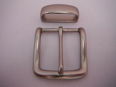 Solid Brass Buckle Plus Keeper  For 38 Mm To 40 Mm Belts  In Silver Colour