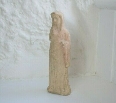 Ancient Greek Terracotta Standing Woman Figure, Votive offering Sculpture