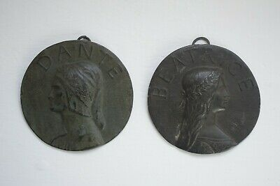 Dante and Beatrice Antique Bronzed Pewter Round Plaques Arts and Crafts