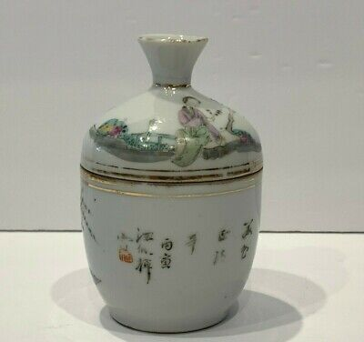 Antique Chinese Hand Painted Porcelain Chupu - Lidded Bowl