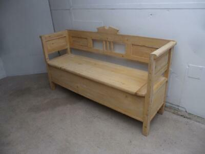 A Lovely Victorian Antique Old/Pine 3 Seater Box/Settle/Bench to Wax/Paint