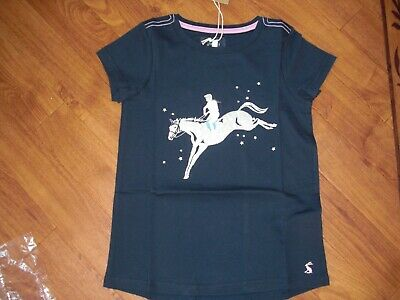 Bnwt Girls Joules Official Burghley Horse Trials Navy T-Shirt Top Age 7-8 Yrs.