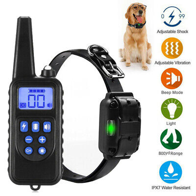 Dog Shock Training Collar Rechargeable Remote Control Waterproof IP67 330Yards