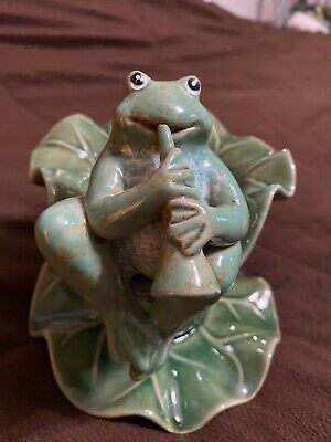 Frog Playing Horn On A Lily Pad-Vintage Porcelain-Ceramic Heavy piece