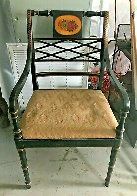 Local Pickup Vintage Black Wood Arm Chair Sheraton Style Hand Painted Floral