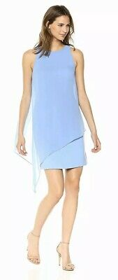Tahari by ASL Women's Cocktail Dress Size 16 Blue Chiffon Asymmetric Hem $118