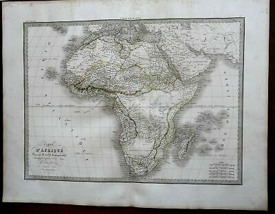 African Continent Cape Colony Egypt Abyssinia Guinea 1829 Lapie large folio map