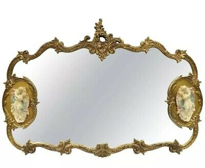 Large French Rococo Style Gold Wall Mirror with Bisque Figural Lovers Plaques