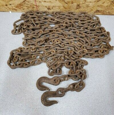 Vintage 24' Log Chain with Hooks,Repair Links,Small link,13 lb. Upcycle Decor