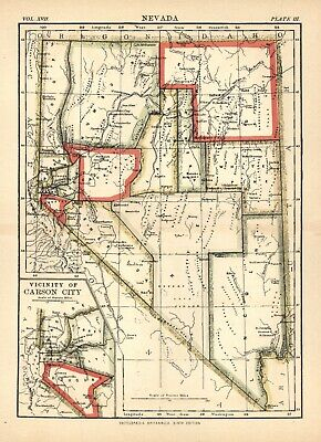 ANTIQUE MAP of NEVADA - Circa 1890 - NICE COLOR OUTLINES  - 7 1/2 x 10 1/2 ""