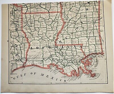 Original 1883 Color  Map Of  Louisiana From Crams  Atlas Of The World