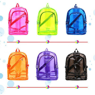Clear Backpack Transparent Travel Book Daypack Plastic Kid Boy Girl School Bags