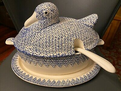 Whittier Pottery Blue White Duck Casserole Dish Rare Vintage '77 With Serving Pl