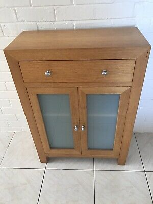 Tasmanian Oak two door frosted glass with top drawer -