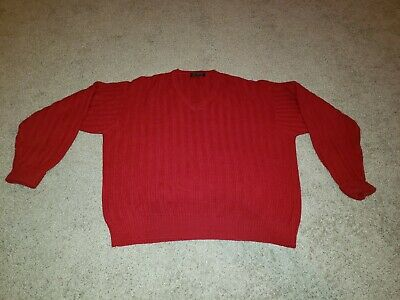 Brooks Brothers 100% Lambs Wool Sweater Mens Size Large - Red V-neck Long Sleeve