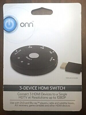 Onn ONA17AV003 3-device HDMI Switch Resolutions Up to 1080P