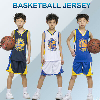 Kids Boys Girls Men Adults Basketball Jerseys Summer Suits Kits Top+Shorts 1 Set White TFTREE Golden State Warriors Stephen Curry #30 Jersey