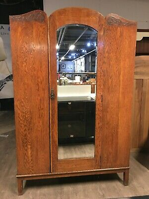 Oak Double Wardrobe Antique Style with Bevelled Mirror, Storage Shelving & Hooks