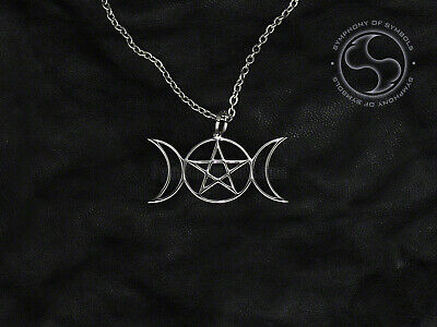 Triple Goddess Pendant Wican Symbol Stainless Steel Three Moons Necklace