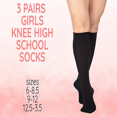 3 Pairs Kids Childrens Girls Knee High Uniform Long Socks Cotton Rich Soft Black