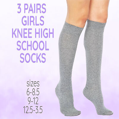 Childrens Girls 3 Pairs Knee High Uniform Plain Long Socks Back To School Grey
