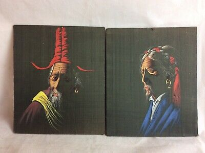A Pair Of Good Quality Antique Chinese Portraits On Fabric & Mounted On Board