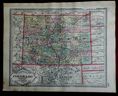 Colorado State Map Rocky Mountains Public Land Indian Territory 1892 map
