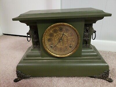 Antique Mantel Clock In Beautiful Condition With Key And Pendulum