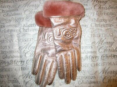 UGG Women's Classic Leather Logo Glove Rose Gold Fur Trim Size Small NWT