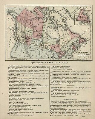 "ANTIQUE Map: ""DOMINION OF CANADA & NEWFOUNDLAND"" - Educational - H-C Circa 1890"