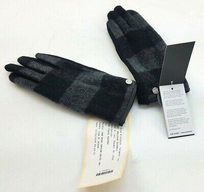 Echo New York Women's Sz S Black Wool Plaid Gloves 632624