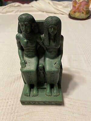 Stone Egyptian Pharaoh King And Queen with Neferetum Statue