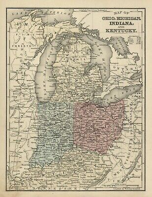ANTIQUE Hand-Colored STATE MAP Of OHIO, MICHIGAN, INDIANA & KENTUCKY ca 1885