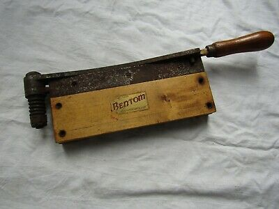 """VINTAGE SMALL  BENTOM PAPER GUILLOTINE cuts great! 9.5"""" blade / wood base"""