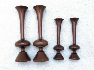 Vintage 1920s Arts & Crafts Turned Oak Flower Trompet Vases (x4)