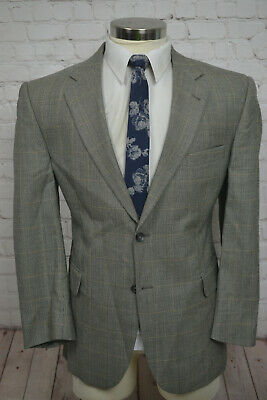 Jos. A. Bank Mens Beige Taupe Check SILK Wool Sport Coat Blazer Jacket SIZE 42S