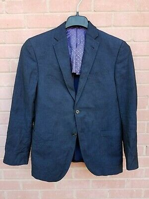 TED BAKER ENDURANCE 38 S navy blue 54% linen 46% cotton sport coat blazer