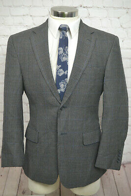 Jos. A. Bank Mens Gray Houndstooth Check Wool Sport Coat Blazer Jacket SIZE 40S