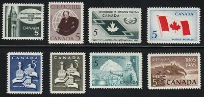 Canada 1965 = Complete Year Set Of 8 Stamps #437- 444 Mnh
