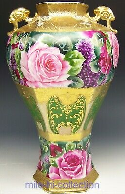 """Nippon Roses Lilacs Raised Gold Hexagon Fishes Handles 13.5"""" Maple Leaf Vase"""