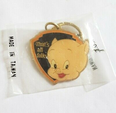 Vintage New Porky Pig Metal Keychain - That's All Folks Looney Tunes Tv Promo