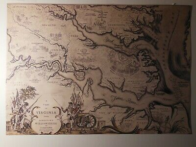 Virginia map Jamestown, Williamsburg, Yorktown, Robert Ball 1939 restoration