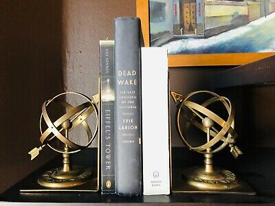 Vintage Midcentury Brass Bookends Sphere with Arrow